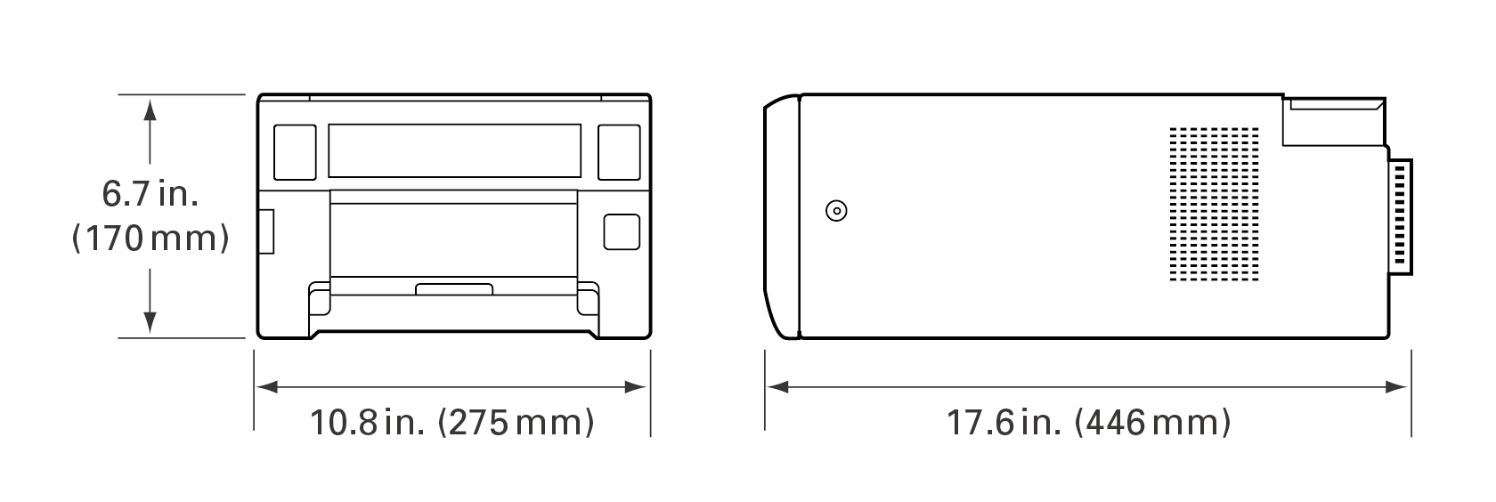 [image] Front and side view graphic of ASK-300, showing height, width, and depth dimensions