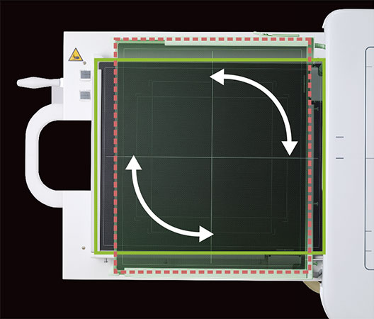 [photo] FDR Smart X DR Panel with 2 sided curved arrows at the diagonal ends of the panel with a red square border