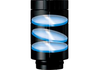 [imagen] Un marco de lente Fujinon con 3elementos de vidrio en capas desalineados verticalmente