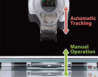 [photo] Top and bottom Motorized Vertical  Synchronization with table with 2 sided up and down arrows beside the manual operation and the automatic tracking text
