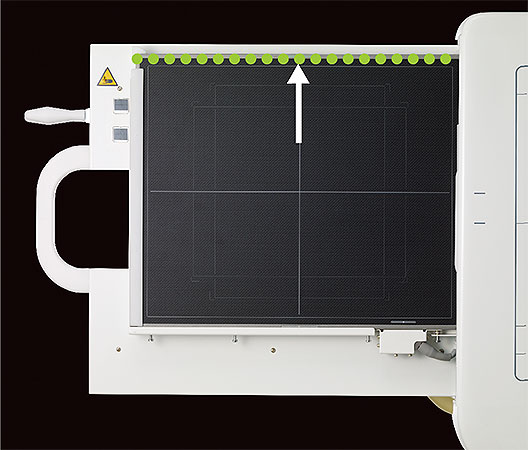 [photo] FDR Smart X DR Panel with an up arrow in white touching the green dotted line at top side of the panel
