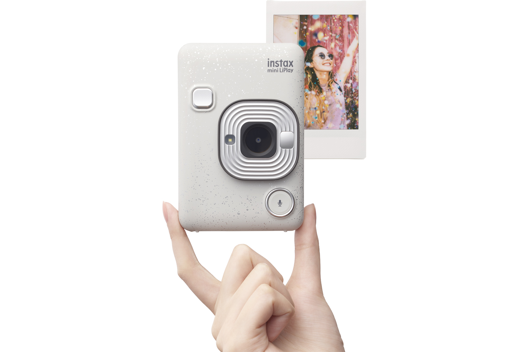 Image of White Stone Mini LiPlay Camera and picture behind it