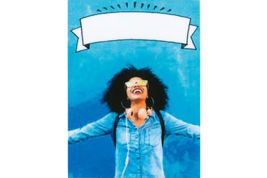 Filtro de cartel de una jovencita en el fondo azul
