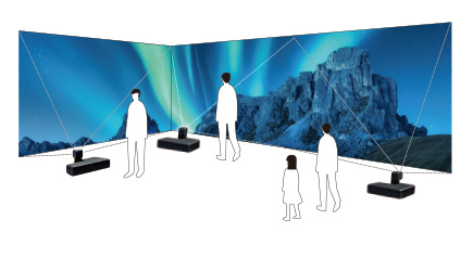 [imagen] 3 proyectores en el piso proyectando la imagen de la aurora boreal y montañas en múltiples paredes, con personas sin proyectar sombras en la imagen