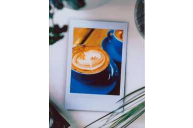Photo in Photo 4 filter picture of cup of coffee in the blue cup