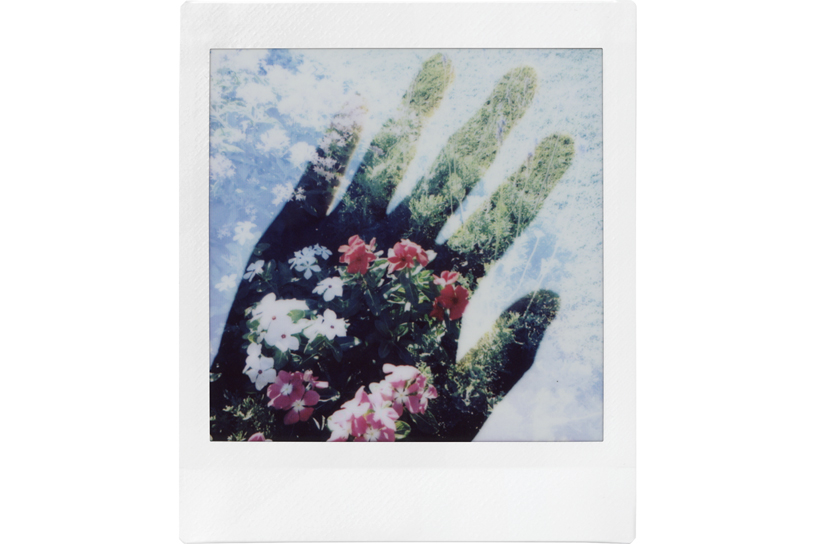 Image of hand silhouette with cloud background and DOUBLE EXPOSURE of flowers show within the silhouette
