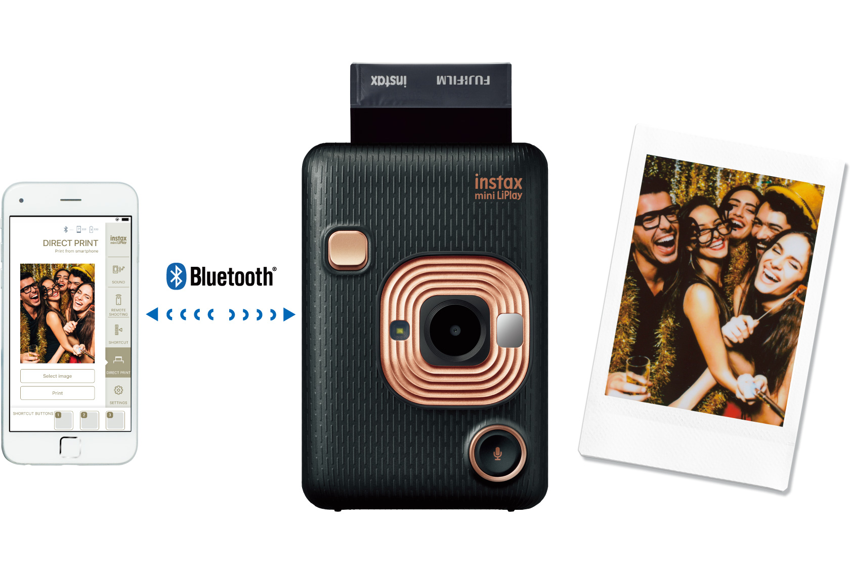 collage image of the phone and back LiPlay camera and picture of a group of young people