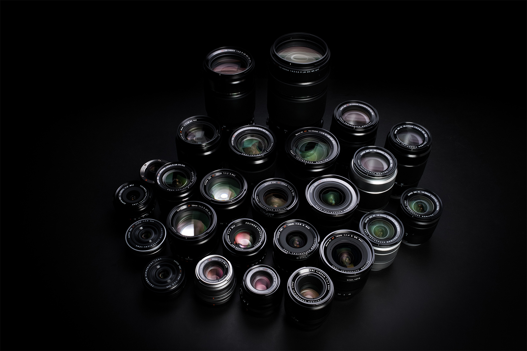 Collage image of X Mount Lenses