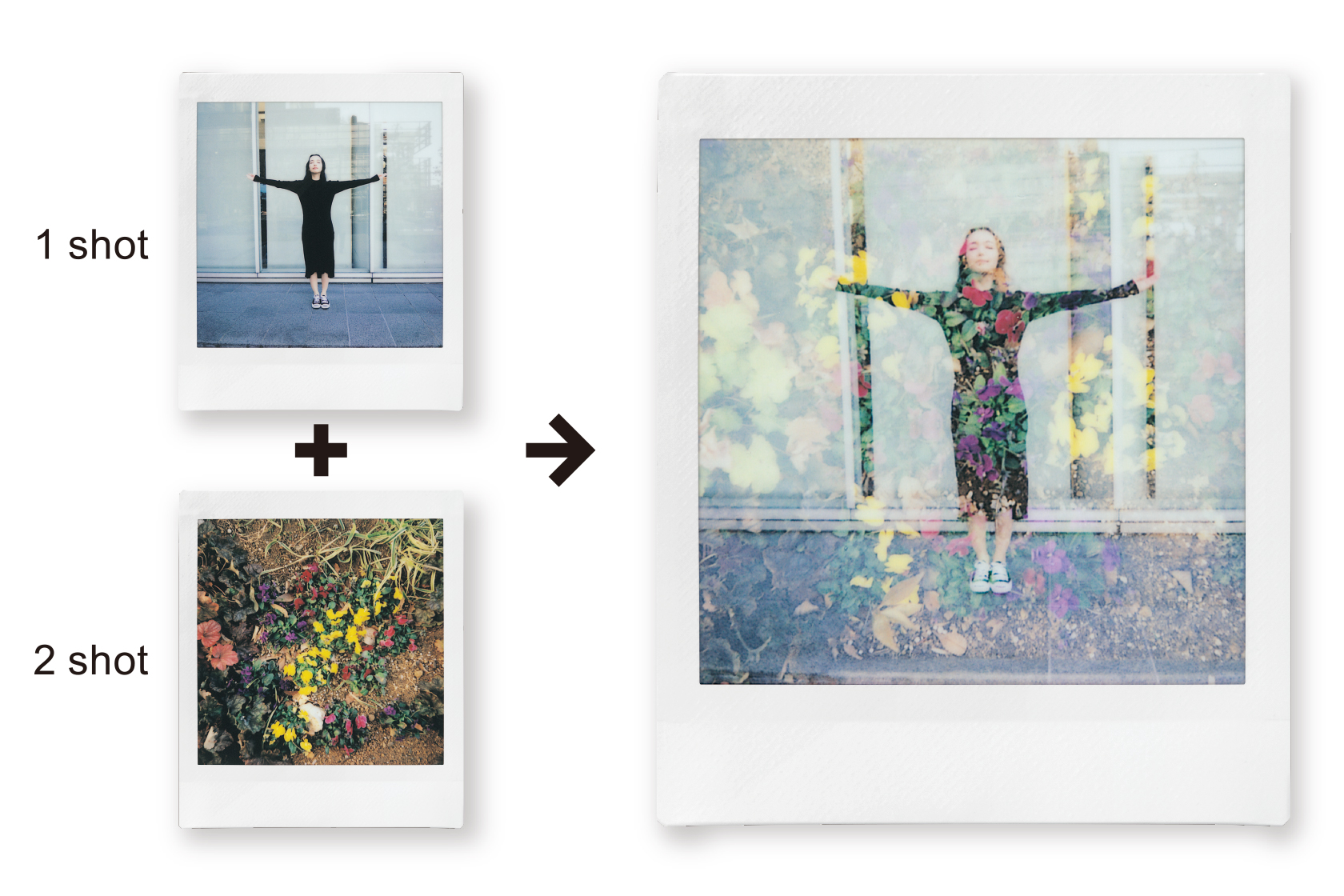 Image of a photo of a woman and a photo of flowers combine into a photo that have both woman and flowers overlay using Double Exposure
