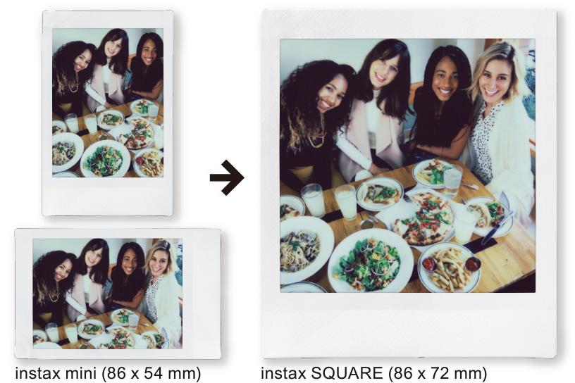 Imagen de una foto vertical de Instax Mini con tres mujeres y una foto horizontal de Instax Mini con cuatro mujeres, luego una foto vertical de Instax SQUARE con las mismas cuatro mujeres