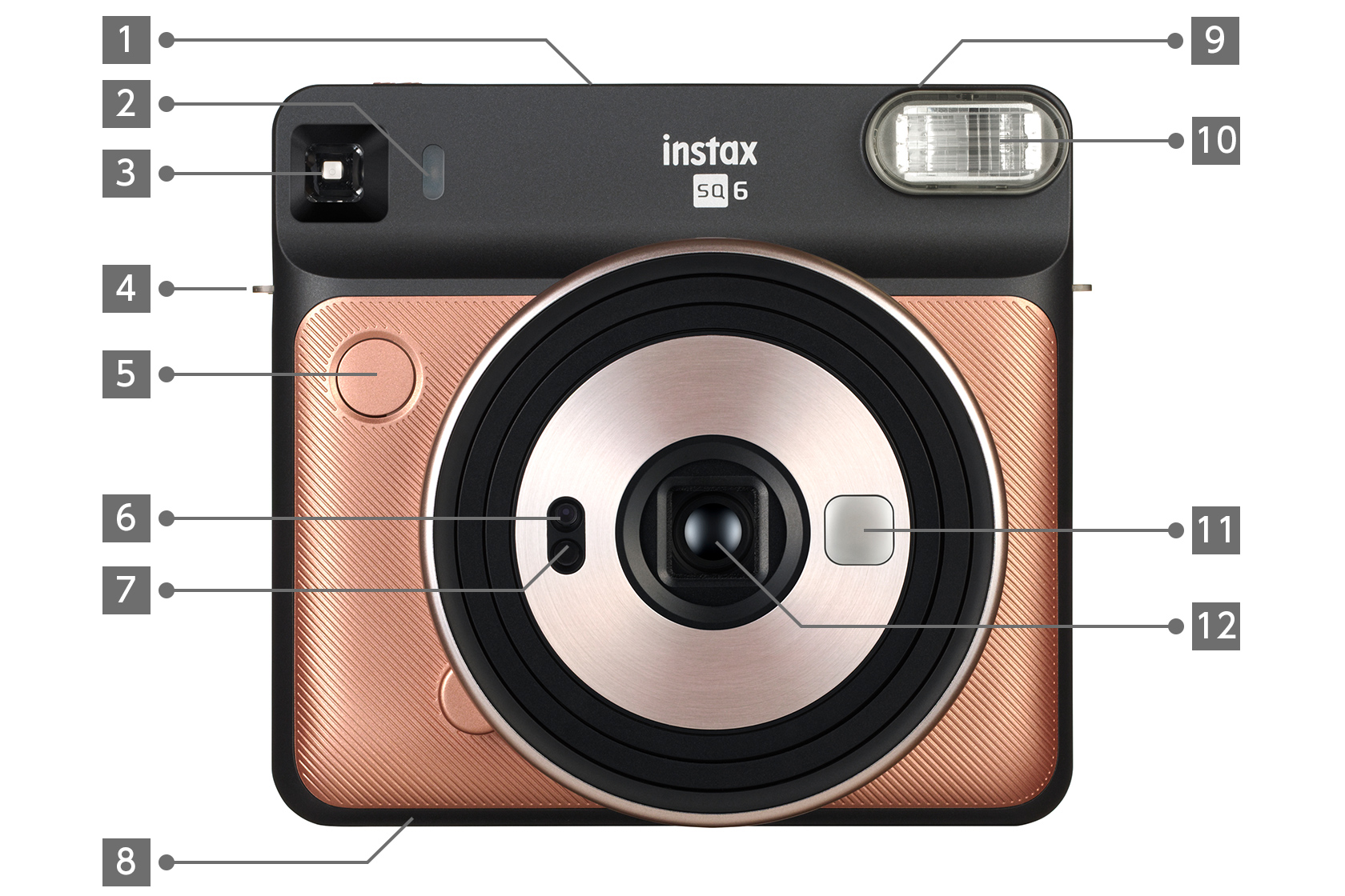 Front view of rose gold SQUARE SQ6 camera