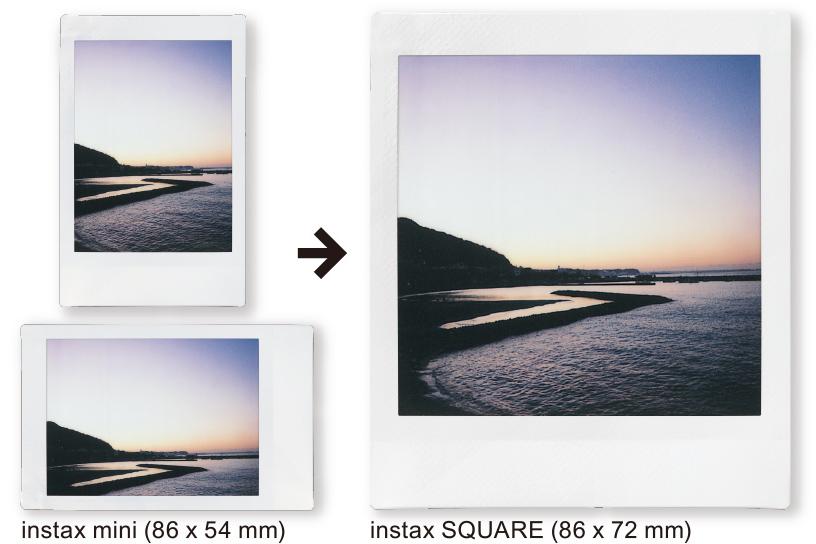 Imagen de una fotografía vertical y horizontal de Instax Mini de la costa de la playa y luego una fotografía vertical de Instax SQUARE con la misma costa de la playa