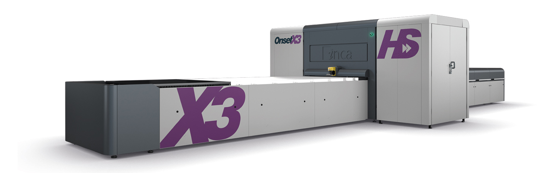 [photo] Large, front-angled view of Onset X Series UV flatbed printing system