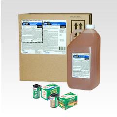 Caja de producto y botella de productos químicos de película Minilab tradicional