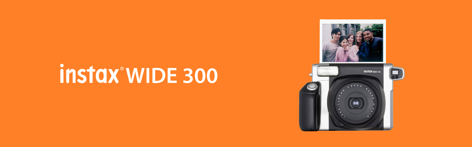 Orange hero image with WIDE 300 camera