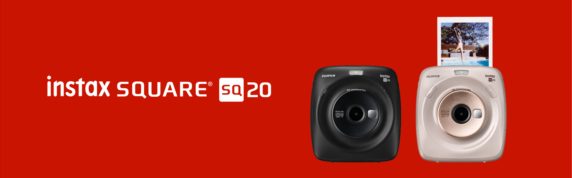Red hero image with SQUARE SQ20 cameras in black and pink colors