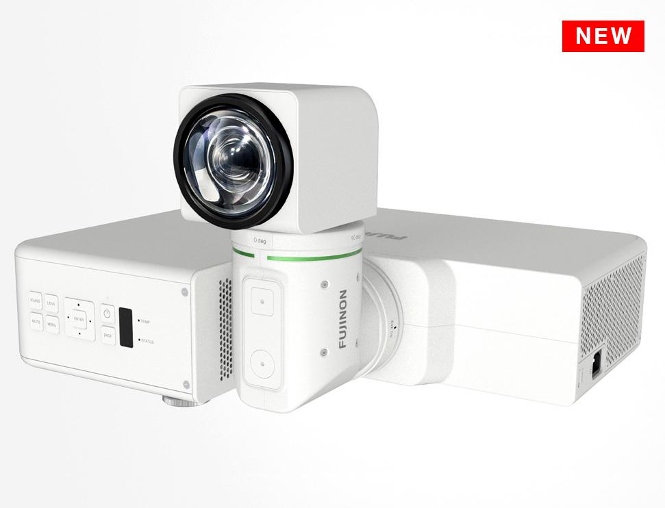 [foto] FP-Z5000 blanco en posición horizontal con lente girado hacia arriba