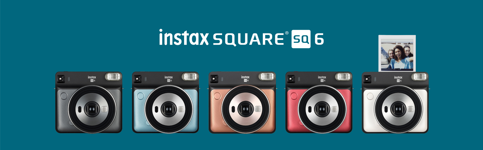 Blue hero image with SQUARE SQ6 cameras in different colors