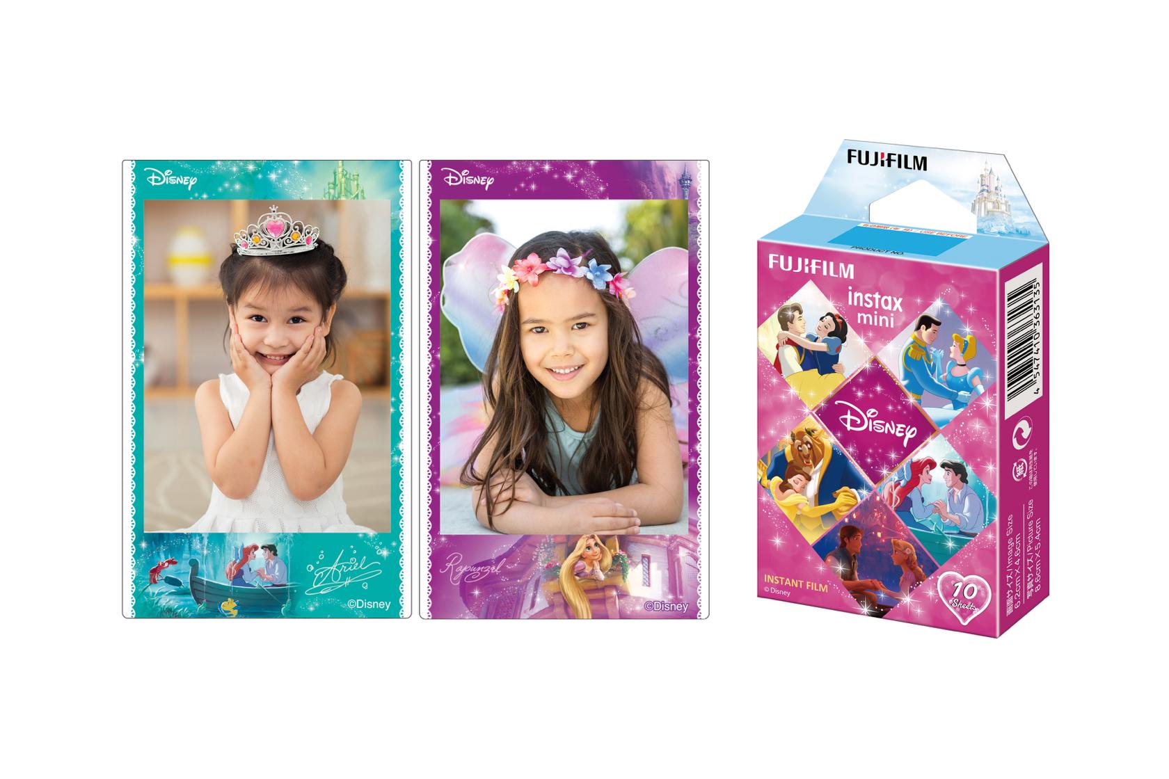 Kid photos on INSTAX Mini Disney Princess Film next to INSTAX Mini Disney Princess Film box