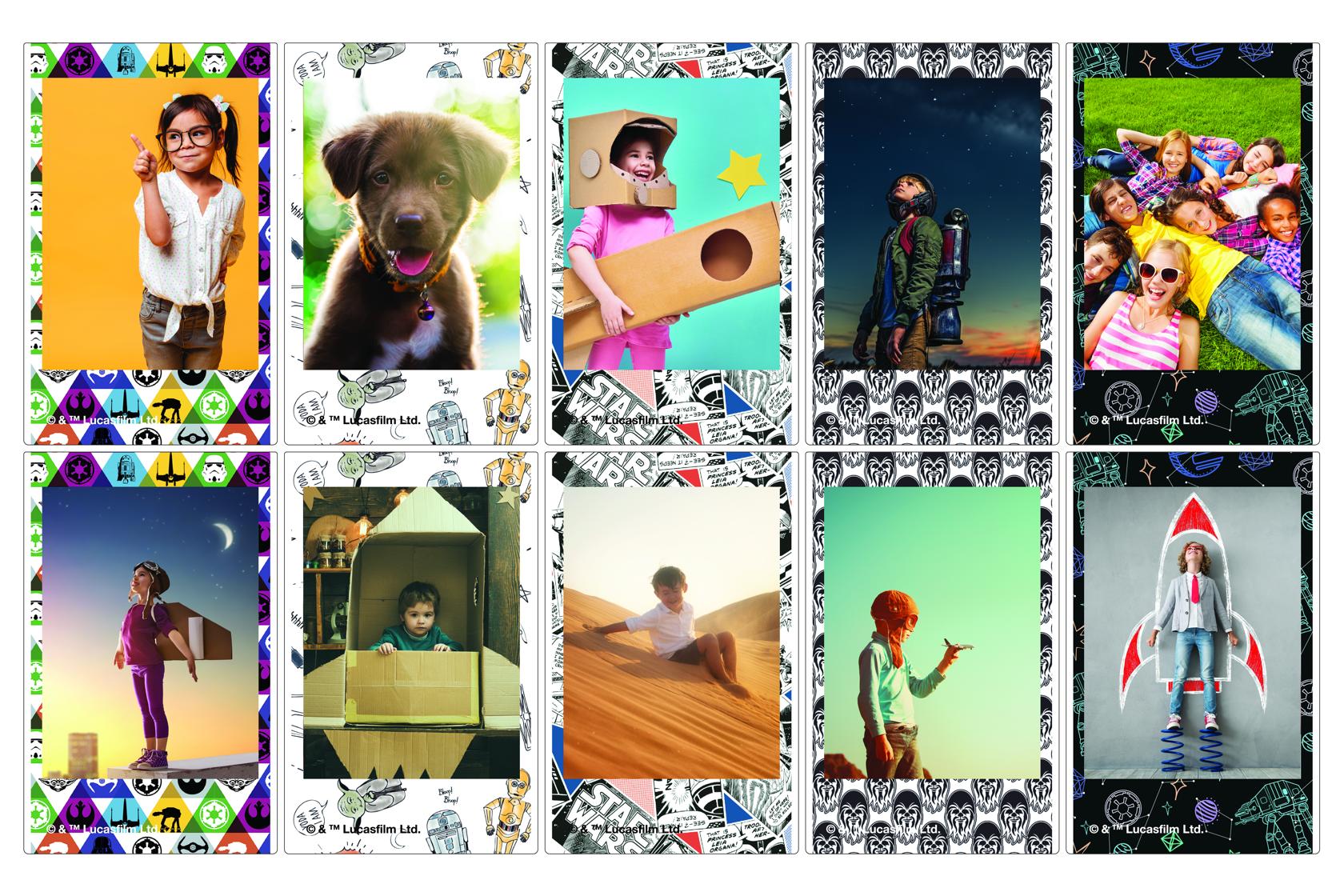 Mosaico de fotos de niños o mascotas en película INSTAX Mini Star Wars