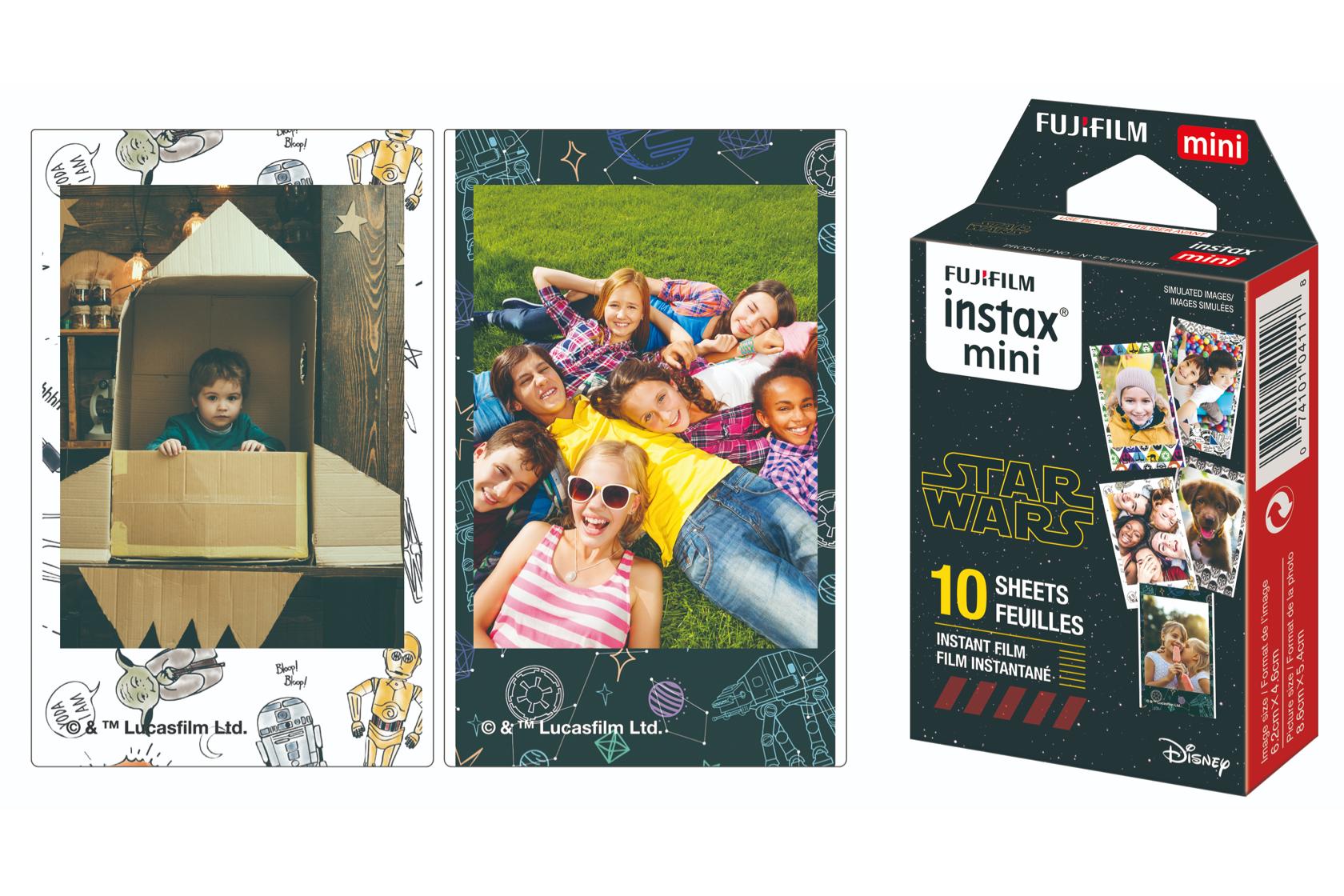 Fotos de niños en la película INSTAX Mini Star Wars junto a la caja de película INSTAX Mini Star Wars