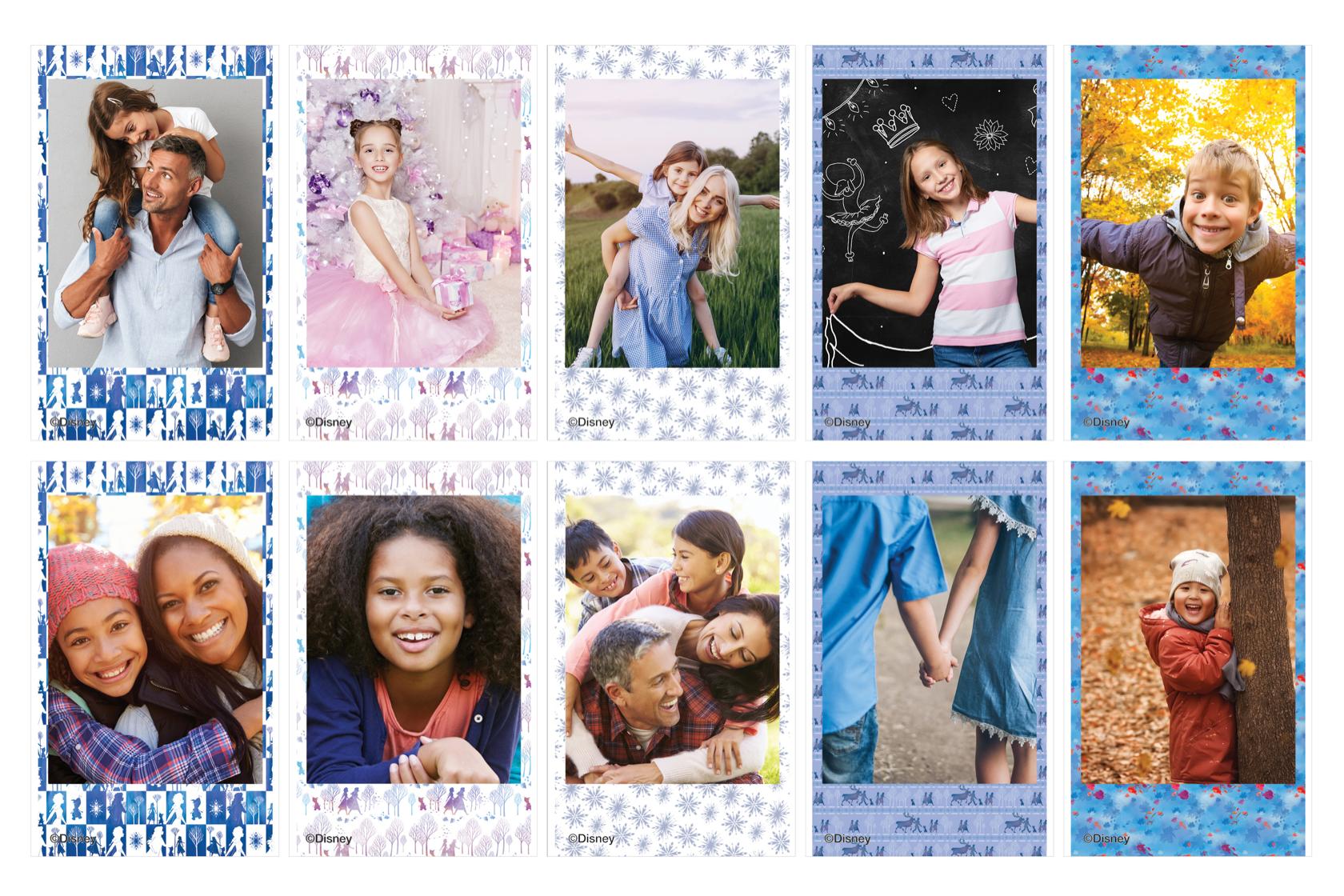 Mosaico de fotos de niños y padres en película Disney Frozen 2
