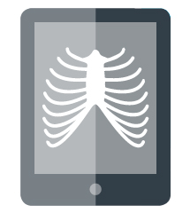 [image] Digital sketch of tablet with ribcage image on screen