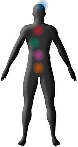 [imagen] Silueta de un hombre con puntos de color en la cabeza y a lo largo del torso