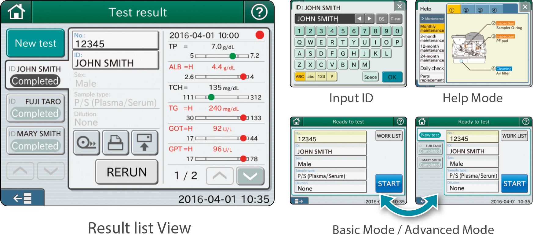 [image] Result list view with list of test results on screen, labeled by patient name and other modes: Help mode, Basic mode/Advanced mode