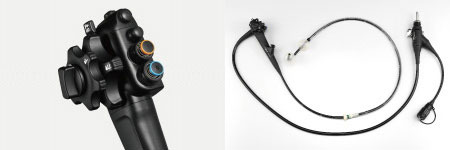 [photo] Control portion up-close and EI-580BT endoscope in full-view