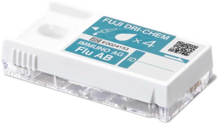 [photo] FUJI AG test cartridge for Influenza type A and B virus antigen with light blue label