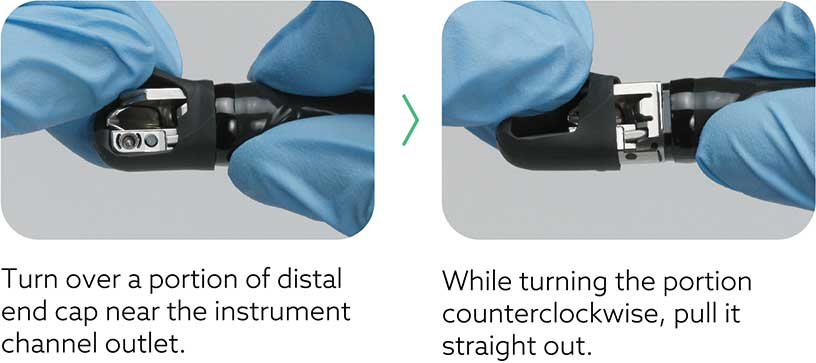 [photo] Side by side close-up views of how to detach the distal cap by turning a portion near the instrument channel and turning the counter-clockwise to pull it straight out