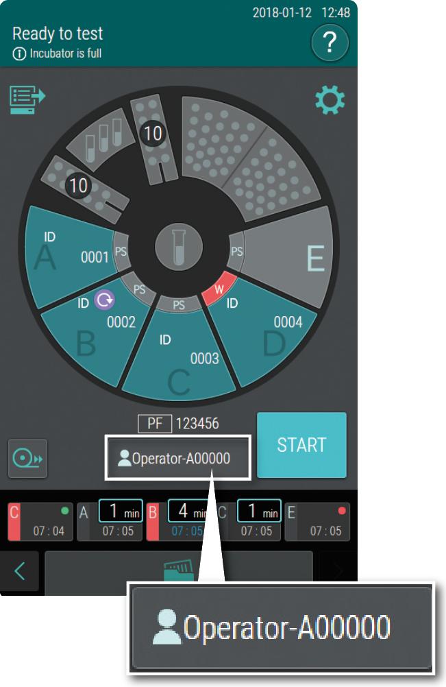 [image] Turquoise, black, and grey setup screen on incubator's display with Operator ID