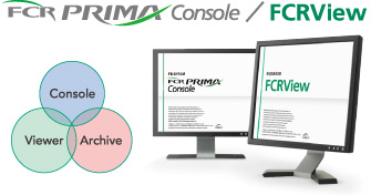 [photo] FCR PRIMA Console and FCRView on computer monitors