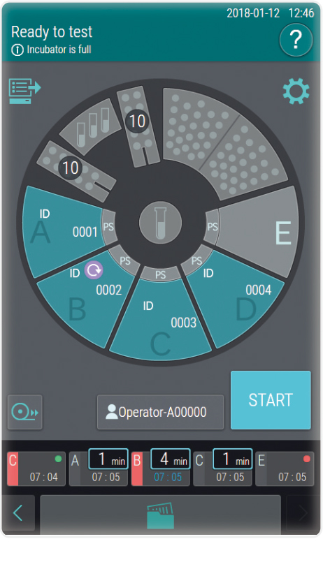 [image] Turquoise, black, and grey colored setup screen on incubator's display, ready for test