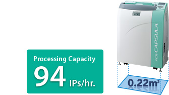 [photo] FCR CAPSULA XLII processes up to 94 IPs per hour and takes up 0.22 meters squared of space
