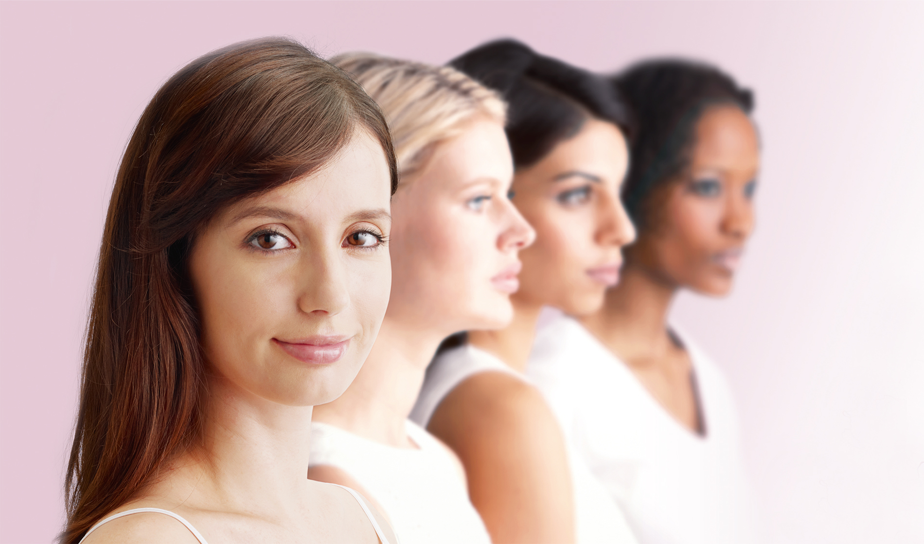 [photo] Four women with different colored hair standing next to each other in row