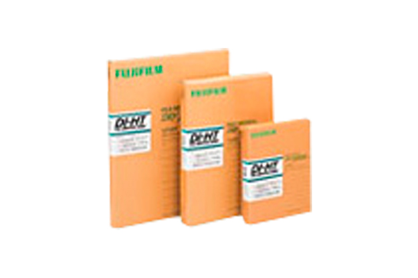 [photo] Row of DI-HT Dry Imaging film packs in larger and smaller sizes