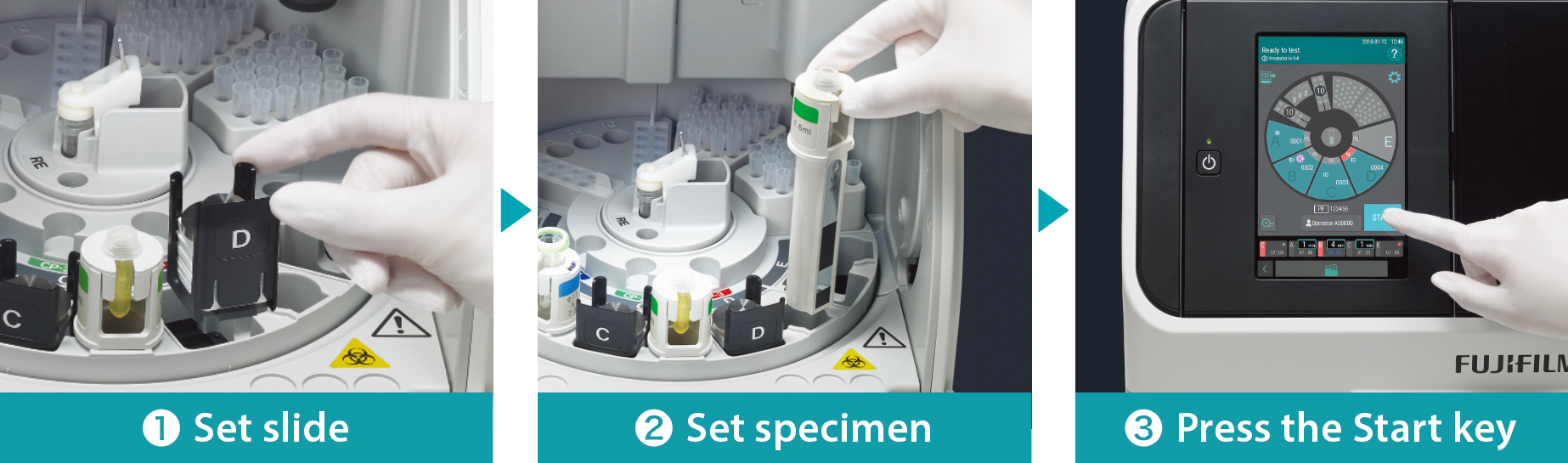 [photo] Gloved hand placing slide and specimen on internal tray inside incubator and then pressing start on external display/screen with machine lid closed