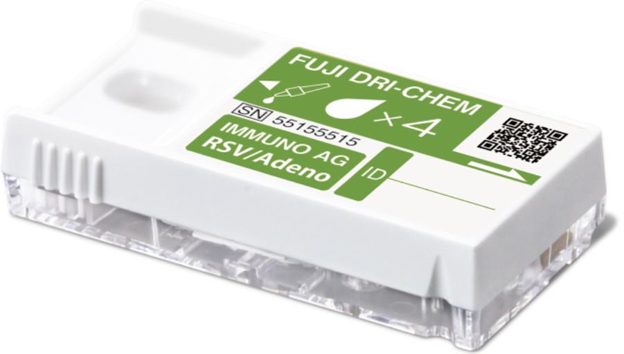 [photo] FUJI AG test cartridge for RS virus and Adenovirus antigen with light green label