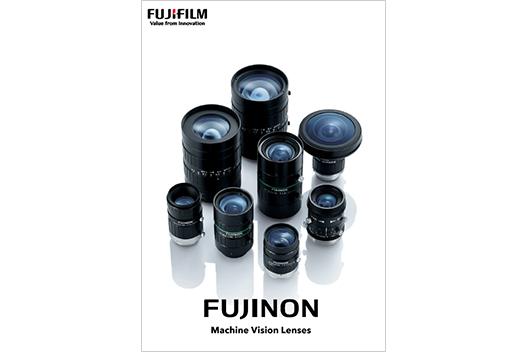 [imagen] Portada del folleto - Grupo de varios modelos de lentes FUJINON Machine Vision parados en posición vertical