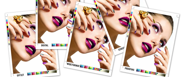 [photo] 5 photo print outs of a model with purple make-up and nails looking up