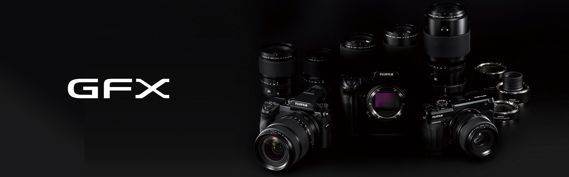 Collage of GFX System cameras and lenses