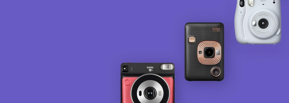 banner púrpura con tres cámaras diferentes