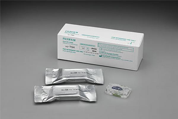[photo] A pack of vc-TSH (Thyroid-Stimulating Hormone) with some slides on a table