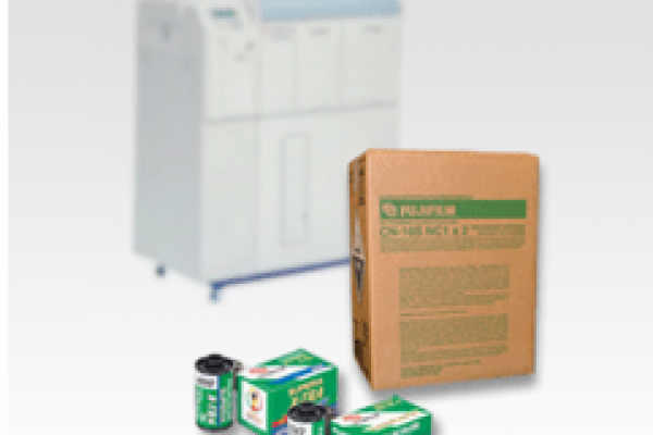 Frontier Film Chemicals Product Box along with film and printer