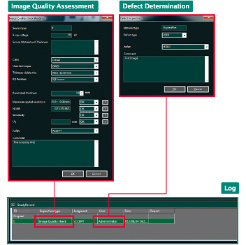 [image] Software screenshots of the Log panel highlighting the Image Quality Assessment and Defect Determination screens in red