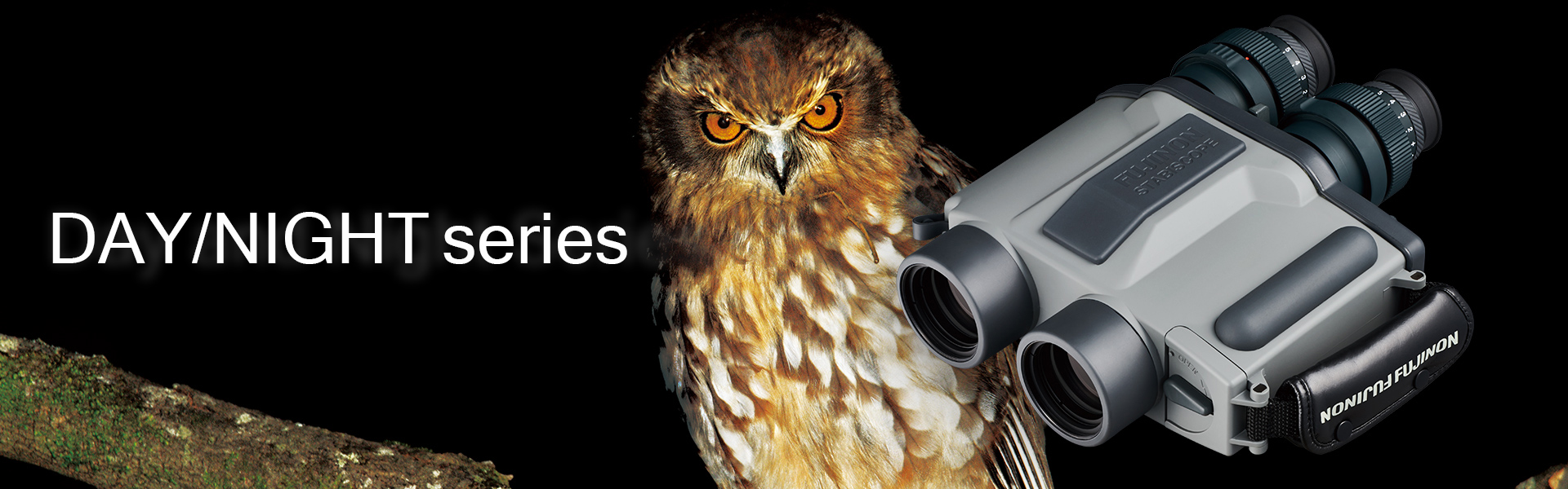 [photo] STABISCOPE S1240-D/N binoculars in front of black background with brown owl sitting on tree branch