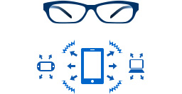 [image] Blue prescription-eyeglass frames and sketch of tablet sending signal to phone and computer