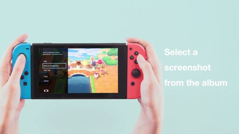 [image](1) Select a screenshot from the Album on Nintendo Switch.